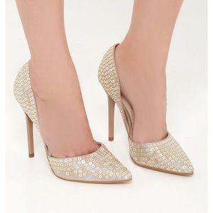 Steve Madden Varcityr D'Orsay Pump Gold Heels 5.5